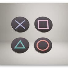 Set Sottobicchieri Playstation. Buttons Metal
