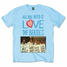 T-Shirt The Beatles Men's Tee: All You Need Is Love Playcards