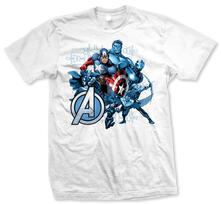 T-Shirt unisex Avengers. Group Assemble Bianco