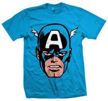 T-Shirt unisex Marvel Comics. Cap America Big Head Blu
