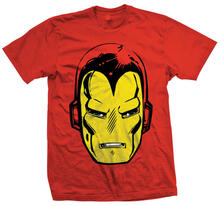 T-Shirt unisex Marvel Comics. Iron Man Big Head Rosso