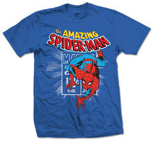 T-Shirt unisex Marvel Comics. Spidey Stamp Blu