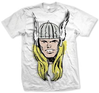 T-Shirt unisex Marvel Comics. Thor Big Head Distressed Bianco