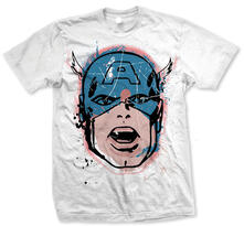 T-Shirt unisex Marvel Comics. Cap Big Head Distressed Bianco
