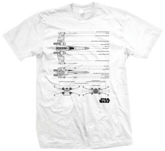 T-Shirt unisex Star Wars.  X Wing Fighter Bianco