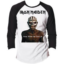 T-Shirt Unisex Tg. L Iron Maiden. Raglan/Baseball Book Of Souls Black White