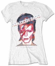 T-Shirt donna David Bowie. Aladdin Slane Ladies White