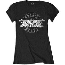 T-Shirt Donna Tg. M Guns N' Roses. Top Hat, Skull & Pistols Las Vegas