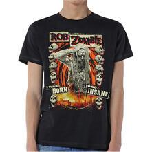 T-Shirt Unisex Tg. XL Rob Zombie. Born To Go Insane