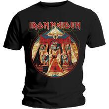 T-Shirt Unisex Tg. M Iron Maiden. Powerslave Lightning Circle
