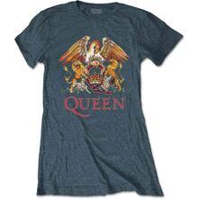 T-Shirt Donna Tg. L. Queen: Classic Crest Blue