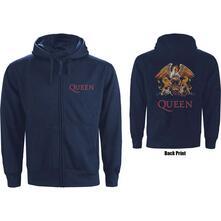 Felpa Con Cappuccio Unisex Tg. L. Queen - Zipped Classic Crest