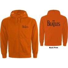 Felpa Con Cappuccio Unisex Tg. M Beatles: Drop T Logo Zipped Orange