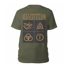 T-Shirt Unisex Tg. L. Led Zeppelin: Gold Symbols & Black Squares