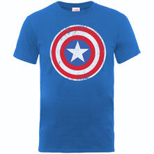 T-Shirt Bambino Marvel Comics. Captain America Distressed Shield Blue
