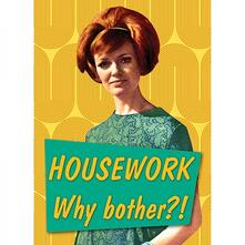 Retro Humour. Magnet Metal. Housework... Why Bother!