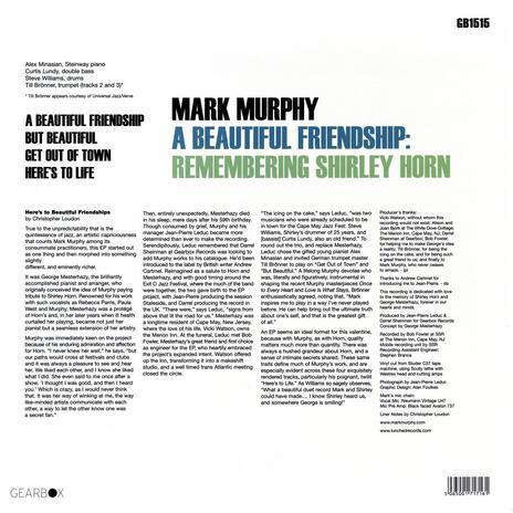 A Beautiful Friendship. Remembering Shirley Horn - Vinile LP di Mark Murphy - 2