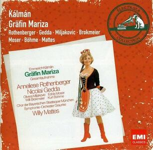 Grafin Mariza - CD Audio di Nicolai Gedda,Anneliese Rothenberger,Emmerich Kalman,Willy Mattes