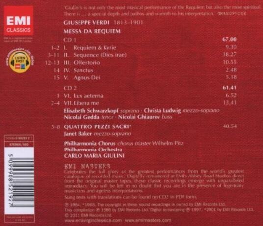 Requiem - CD Audio di Giuseppe Verdi,Nicolai Gedda,Christa Ludwig,Nicolai Ghiaurov,Elisabeth Schwarzkopf,Carlo Maria Giulini,Philharmonia Orchestra - 2