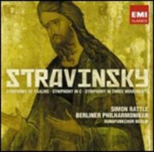Sinfonia di salmi - Sinfonia in Do - Sinfonia in tre movimenti - CD Audio di Igor Stravinsky,Berliner Philharmoniker,Simon Rattle