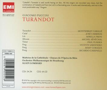 Turandot - CD Audio di Montserrat Caballé,Mirella Freni,José Carreras,Giacomo Puccini,Alain Lombard,Orchestra Filarmonica di Strasburgo - 2
