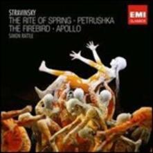 La sagra della primavera (Le Sacre du Printemps) - L'uccello di fuoco (L'oiseau de feu) - Petrouchka - Apollo - CD Audio di Igor Stravinsky,Simon Rattle