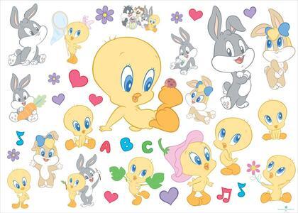Sticker da Parete Looney Tunes Baby. 1 Foglio con 35 Sticker