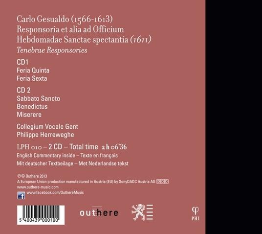 Responsori - CD Audio di Philippe Herreweghe,Carlo Gesualdo,Collegium Vocale Gent - 2