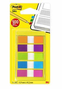 Miniset - 100 Segnapagina Formato Mini 683 In 5 Colori Vivaci (6pz)