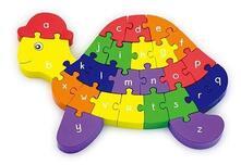 Puzzle tartaruga legno lettere e numeri