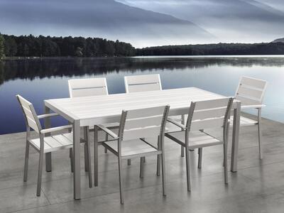 Sedie Da Giardino In Alluminio.Set Di Tavolo E Sedie Da Giardino In Alluminio E Legno Sintetico
