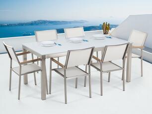 Set tavolo e sedie da giardino - In vetro temperato bianco e fibra tessile  bianca - tavolo 180 con 6 sedie - GROSSETO