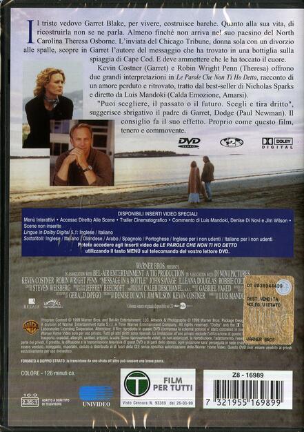 Le Parole Che Non Ti Ho Detto Dvd Film Di Luis Mandoki