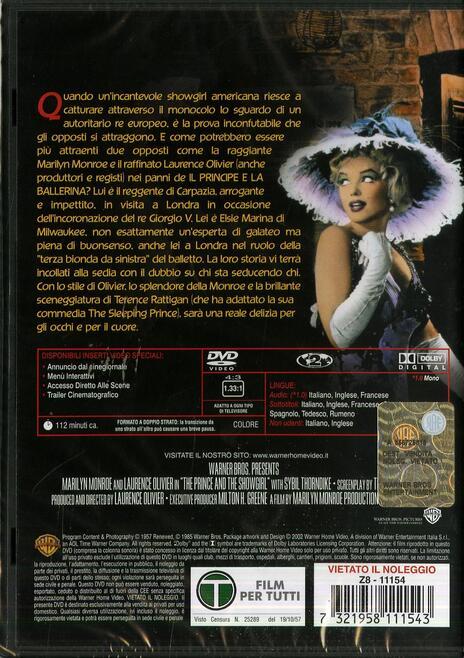 Il principe e la ballerina di Laurence Olivier - DVD - 2