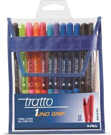 Penna a sfera Tratto 1Uno Grip. Scatola 12 colori assortiti