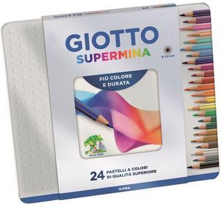 Pastelli Giotto Supermina. Scatola in metallo 24 matite colorate assortite - 2