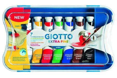 Tempera Giotto Extra in tubetto 12 ml. Scatola 7 colori assortiti - 5
