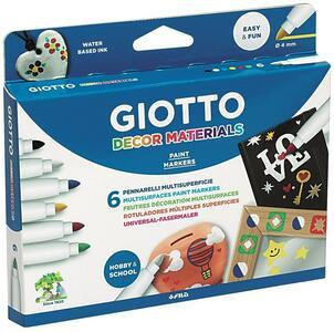 Pennarelli multisuperficie Giotto Decor Materials. Scatola 6 colori assortiti