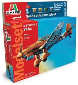 Giocattolo Aereo Ju-87 B-2 Stuka - (Kit + colori + colla + pennello) (71079S) Italeri 0