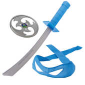Giocattolo Turtles Armi Combact Gear con suoni, Completo di Stella Ninja, Spada e Mascherina di Leonardo Giochi Preziosi