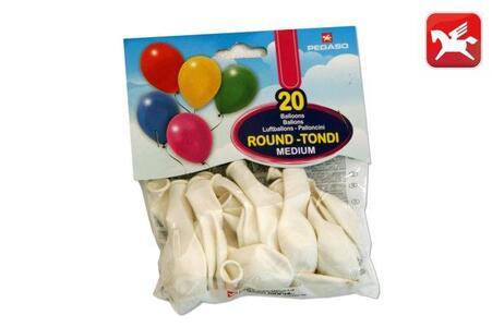 Busta 20 palloni medium Bianco