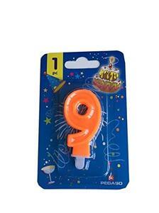 Candelina Neon Arancio Numero 9 Blister 1 Pz