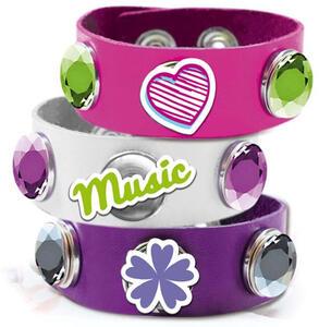Violetta. V-Bracelet Click And Charm. Braccialetto Slap Bianco / Rosa / Viola