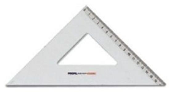 Cartoleria Squadra 45 gradi/30 cm in alluminio Panini