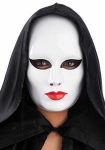 Maschera Viso Medio Bianco Donna Con Trucco In Plastica