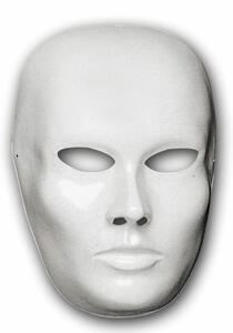 Carnival Toys 170. Maschera Viso Medio Bianco Da Pitturare In Plastica