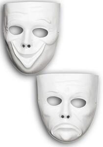 Maschera Viso Bianco Commedia E Tragedia In Plastica Da Pitturare