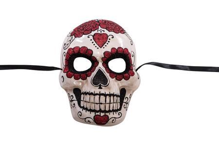 Maschera Teschio Messicano In Cartapesta Con Decorazioni Glitter
