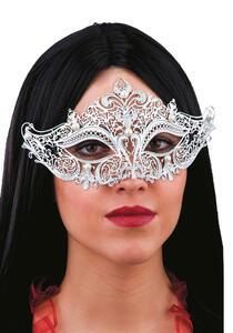 Carnival Toys 710. Maschera Argento In Metallo Con Perle