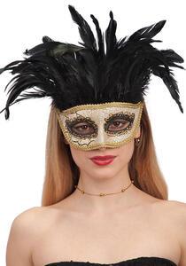 Carnival Toys 743. Maschera Oro Craclè In Plastica Rigida Con Piume